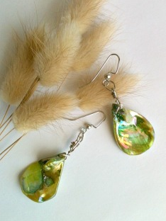 Green shell earrings wire wrapped2adjusted